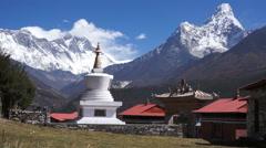 Nepal, Monastery, Tengboche,himalayas, Ama Dablam Stock Footage