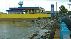 Heavily polluted shoreline at Nha Trang. Video 4k Stock Footage