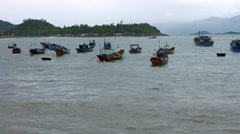 Fleet of small, private fishing boats, anchored at Nha Trang. Video 4k Stock Footage