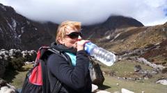 Nepal, Himalayas, Mountain Trail, Woman, Tourist, Trekking, Everest Stock Footage