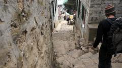 Namche Bazaar, Street, Climbers, Downhill, Down Stock Footage