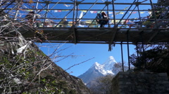 Nepal, Bridge, Gorge, Traffic, Ama Dablam, Background Stock Footage