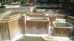 Fountain and waterfall landscape in Hongkong Park - stock footage