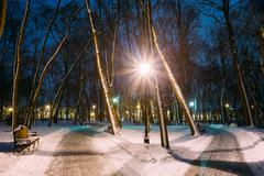 Two Path, Way in Snowy city park in light of lanterns at evening Stock Photos