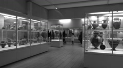 British Museum historical displays tourism London England BW 4K Stock Footage