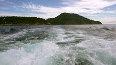 View from boat on tropical island in fair weather Stock Footage