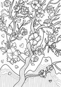 Coloring Tattoo Twig - stock illustration
