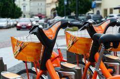 Terminal of automatic rent of bicycles Cyclocity in Vilnius, Lithuania - stock photo