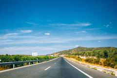 Beautiful asphalt freeway, motorway, highway in Andalusia, Spain - stock photo