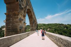 Ancient old Roman aqueduct of Pont du Gard, Nimes, France Stock Photos