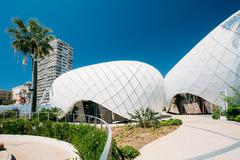 Modern buildings is Monte-Carlo Pavillions. Black and white colo - stock photo