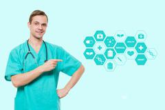 healthcare, profession, symbols, people and medicine concept - smiling male - stock photo