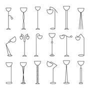 Outline floor lamp Set - stock illustration