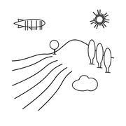 Image of outline aerostat, trees, mountain Stock Illustration