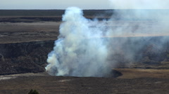Smoking Kīlauea volcano craters overlook - Hawaii, Big Island - stock footage