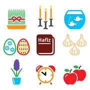 Nowruz - Persian New Year icons set - 21 March Piirros