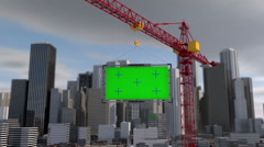 Crane lifts the billboard. city landscape. Tracking your content. Green screen Stock Footage