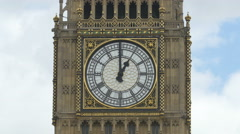 View of the famous Big Ben clock with golden details in London Stock Footage