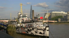 View of HMS President boat moored on River Thames in London Stock Footage