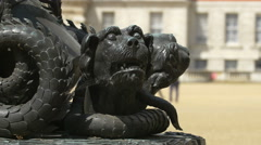 View of a two headed creature sculpture in London Stock Footage
