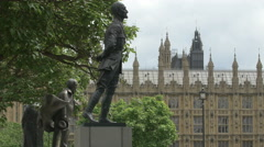 Jan Smuts statue in Westminster Square in London Stock Footage