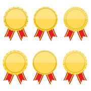 Flat Golden Medals with Ribbons - stock illustration