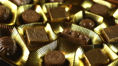 Golden Chocolate Box Turntable Stock Footage