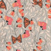Vector traditional seamless pattern with Monarch butterflies, floral elements Stock Illustration