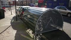 Bike antitheft measure, London, England, Europe Stock Footage