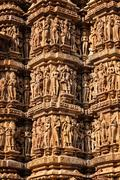 Famous stone carving sculptures of Khajuraho - stock photo