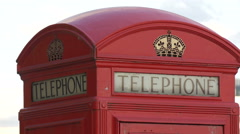 Close up view of a red British phone booth, London Stock Footage