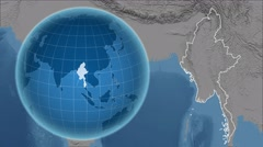 Myanmar and Globe. Set of five animations plus matte Stock Footage