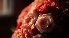 Wedding bouquet and rings Stock Footage