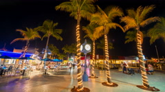 Fort Myers Beach Time Square at night Timelapse 8k Stock Footage