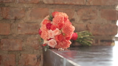 Wedding bouquet and rings - stock footage
