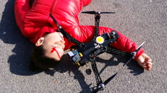 4K, Pretty woman attacked by drone quadrocopter with bleeding head injuries Stock Footage