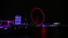 Millennium wheel in the night, London, England, Europe Stock Footage