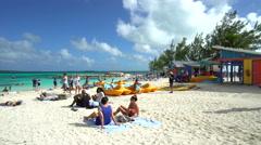 tropical sandy beach in Coco Cay, Bahamas - stock footage