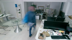4K Time lapse of busy creative business team working together in modern office.  Arkistovideo
