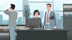 Cartoon Corporate / People Working In The Office Stock Footage