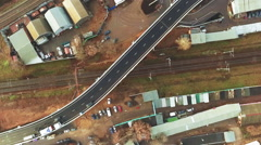 Industrial Cityscape Top View. Moscow Highway Interchange With Railroad. Aerial Stock Footage