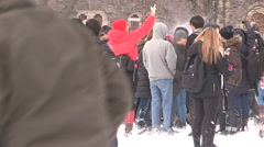 Toronto university college students  campus snowball fight after winter storm Stock Footage