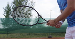 Tennis Player Spins The Racket And Hits The Ball Stock Footage