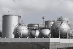 Storage tanks in Oil Depot Stock Photos