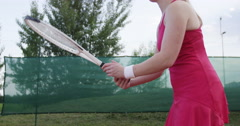 Female Tennis Player Spins The Racket And Hits The Ball Stock Footage