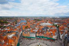View from Belfry of Bruges and Grote Markt - stock photo