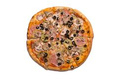 Top view of tasty Italian pizza with ham and olives - stock photo