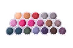 Set of bright mineral eyeshadows - stock photo