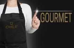 Gourmet touchscreen is operated by chef Stock Photos