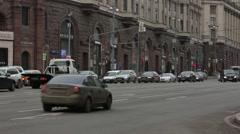 Tverskaya street traffic Moscow, Russia Stock Footage